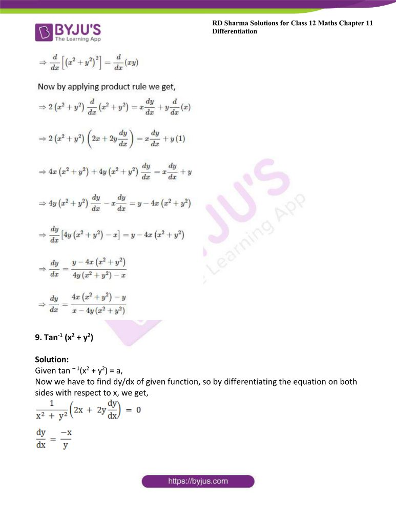 RD Sharma Class 12 Maths Solutions Chapter 11 Differentiation Exercise 11.4 5