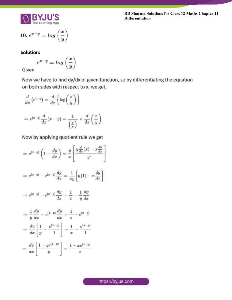 RD Sharma Class 12 Maths Solutions Chapter 11 Differentiation Exercise 11.4 6