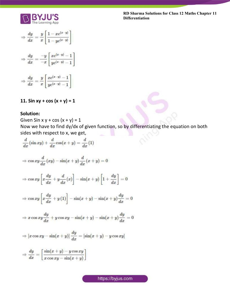 RD Sharma Class 12 Maths Solutions Chapter 11 Differentiation Exercise 11.4 7