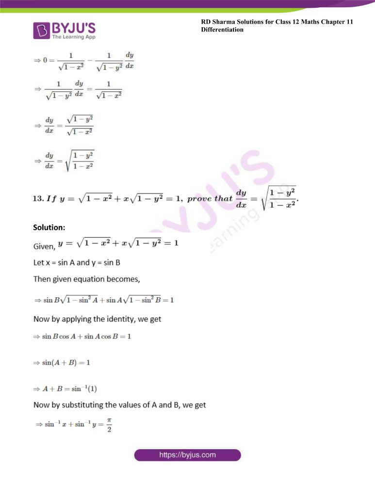 RD Sharma Class 12 Maths Solutions Chapter 11 Differentiation Exercise 11.4 9