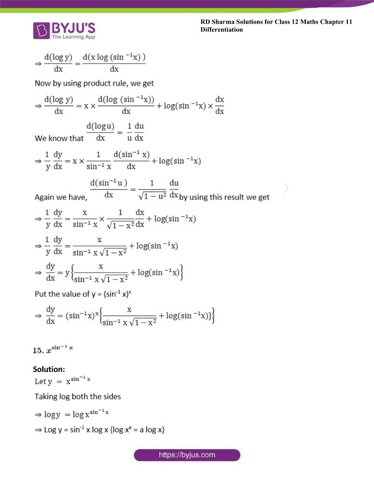 RD Sharma Class 12 Maths Solutions Chapter 11 Differentiation Exercise 11.5 13