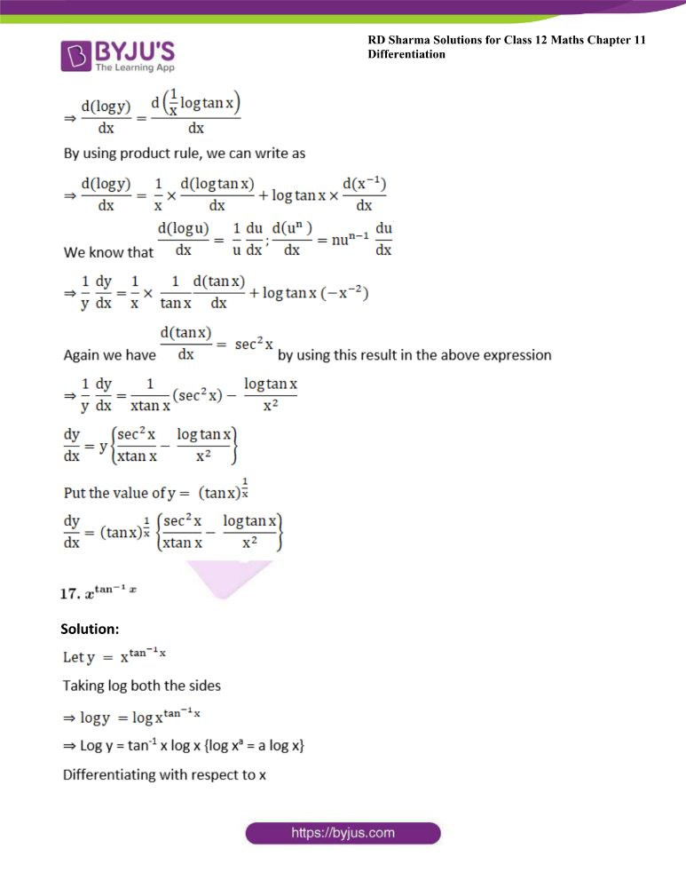RD Sharma Class 12 Maths Solutions Chapter 11 Differentiation Exercise 11.5 15