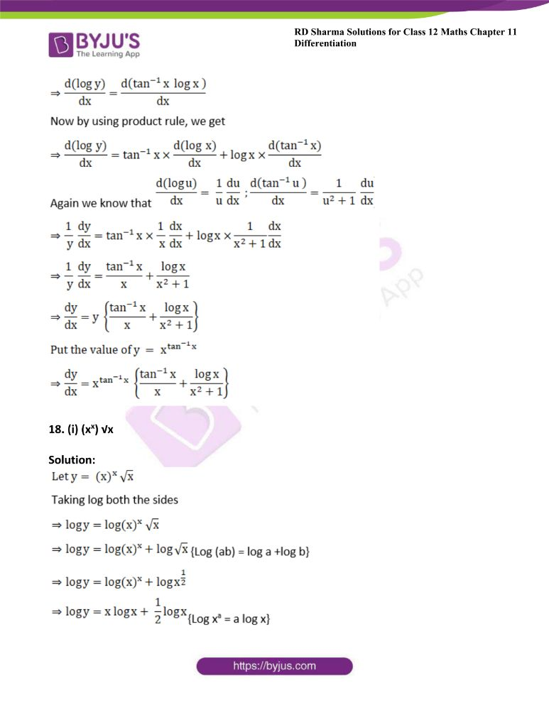 RD Sharma Class 12 Maths Solutions Chapter 11 Differentiation Exercise 11.5 16