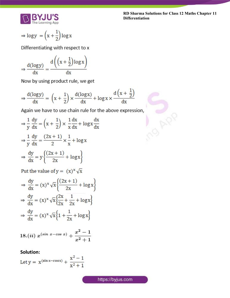 RD Sharma Class 12 Maths Solutions Chapter 11 Differentiation Exercise 11.5 17