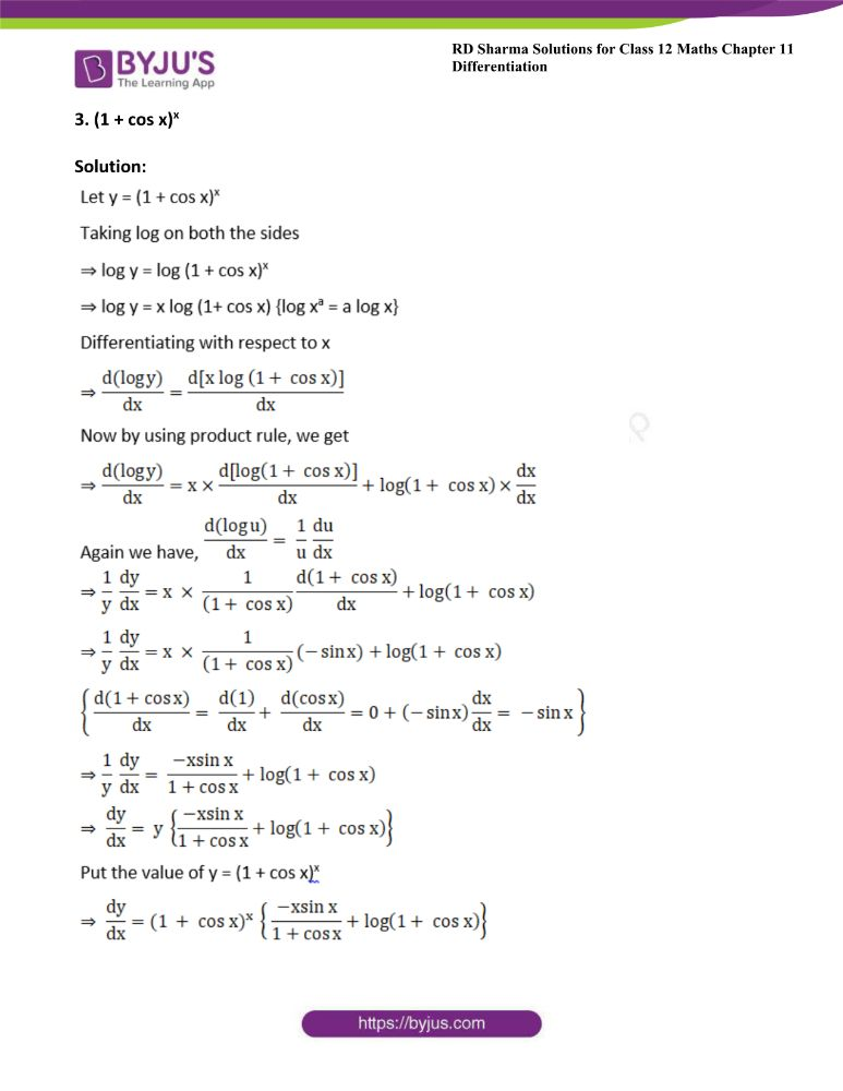 RD Sharma Class 12 Maths Solutions Chapter 11 Differentiation Exercise 11.5 2