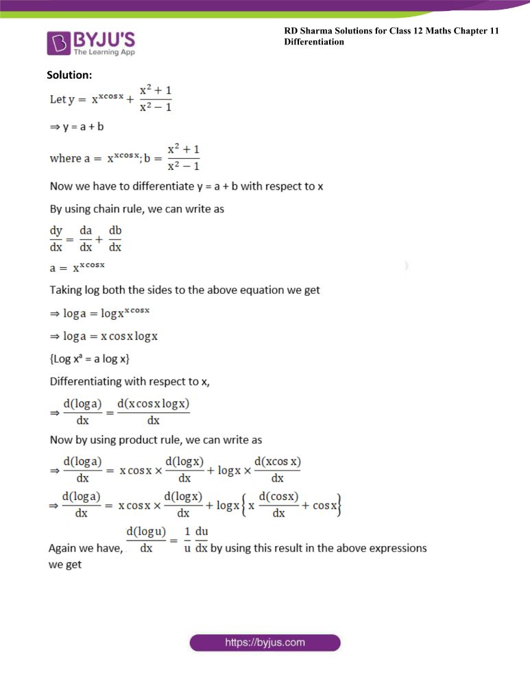 RD Sharma Class 12 Maths Solutions Chapter 11 Differentiation Exercise 11.5 20