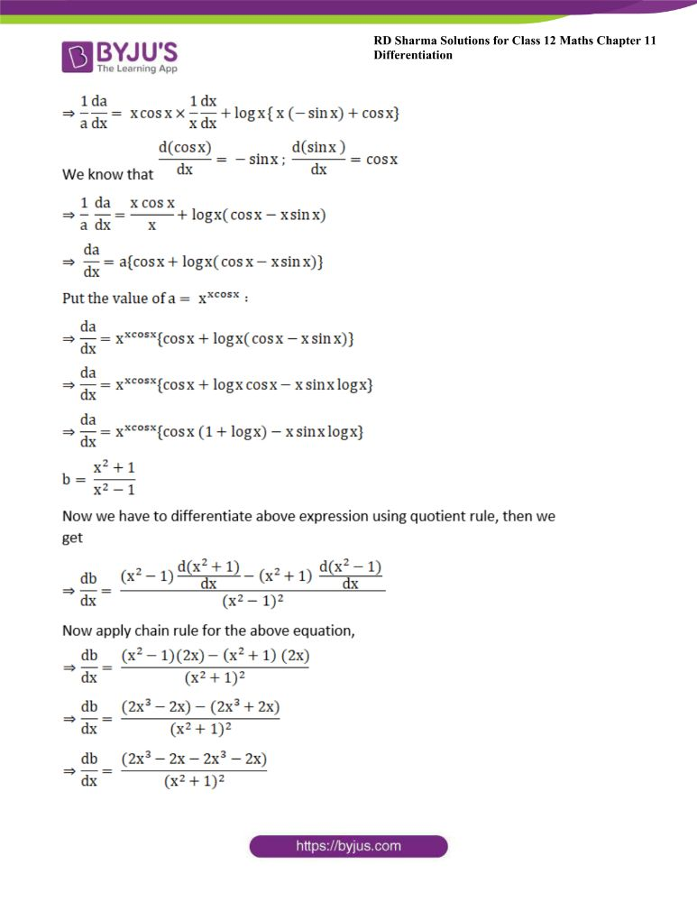 RD Sharma Class 12 Maths Solutions Chapter 11 Differentiation Exercise 11.5 21