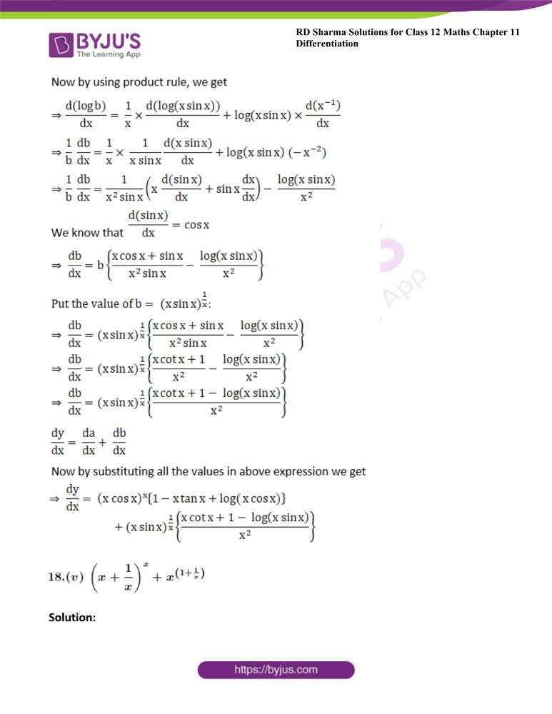 RD Sharma Class 12 Maths Solutions Chapter 11 Differentiation Exercise 11.5 24