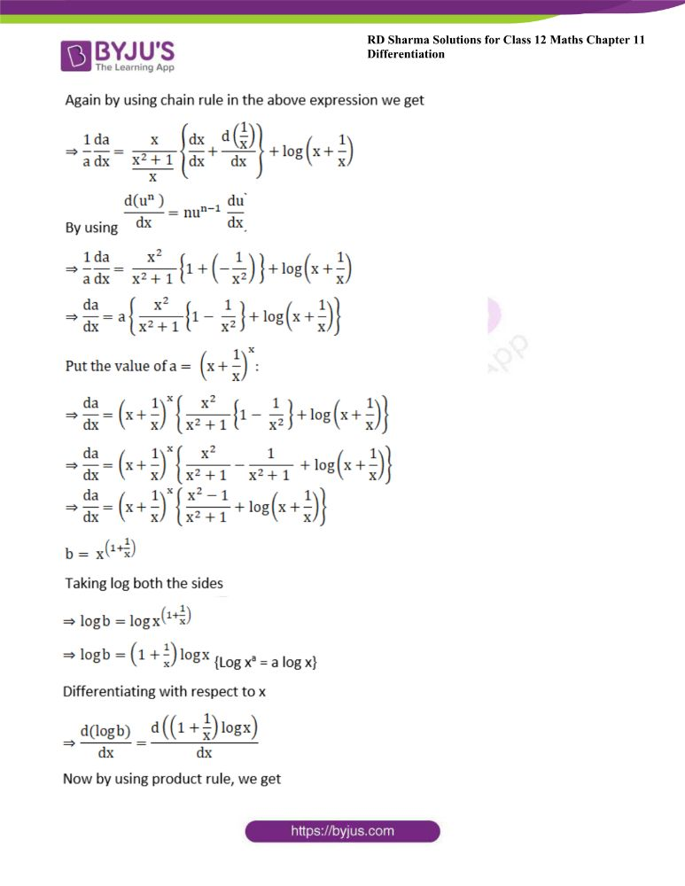 RD Sharma Class 12 Maths Solutions Chapter 11 Differentiation Exercise 11.5 26