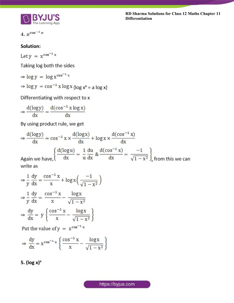 RD Sharma Class 12 Maths Solutions Chapter 11 Differentiation Exercise 11.5 3