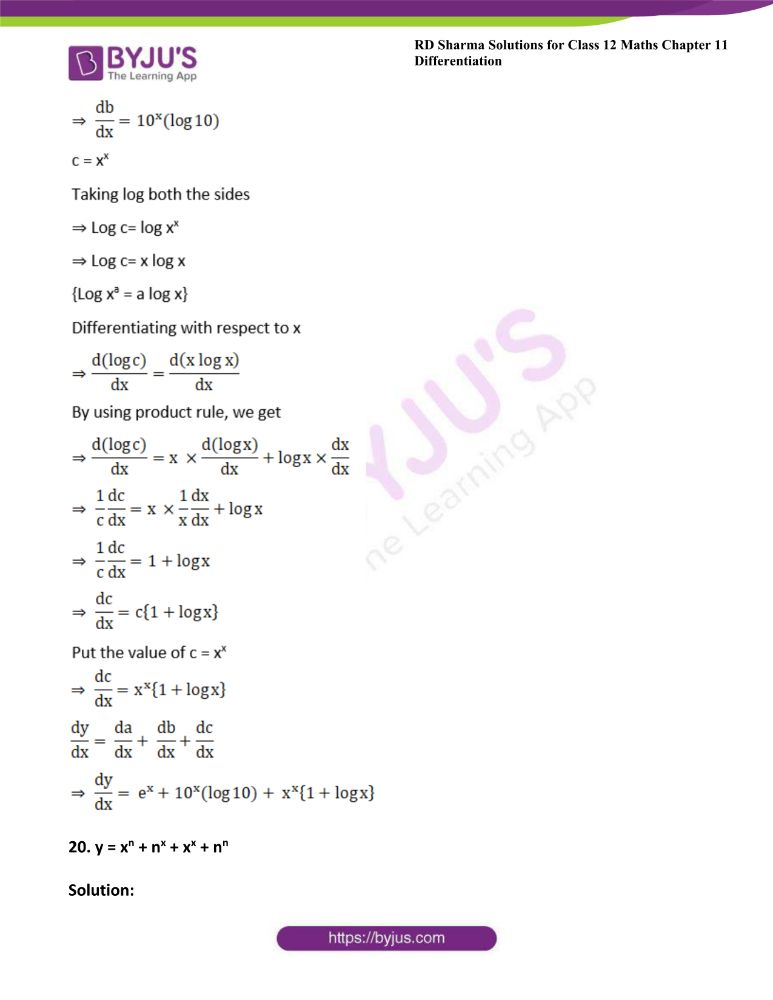 RD Sharma Class 12 Maths Solutions Chapter 11 Differentiation Exercise 11.5 36