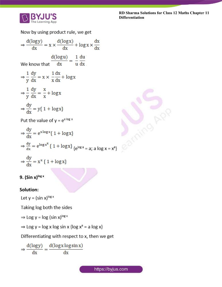 RD Sharma Class 12 Maths Solutions Chapter 11 Differentiation Exercise 11.5 7