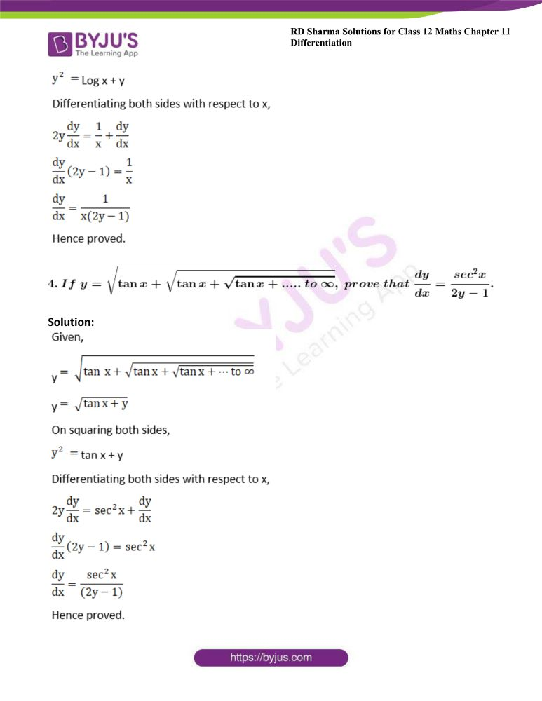 RD Sharma Class 12 Maths Solutions Chapter 11 Differentiation Exercise 11.6 2