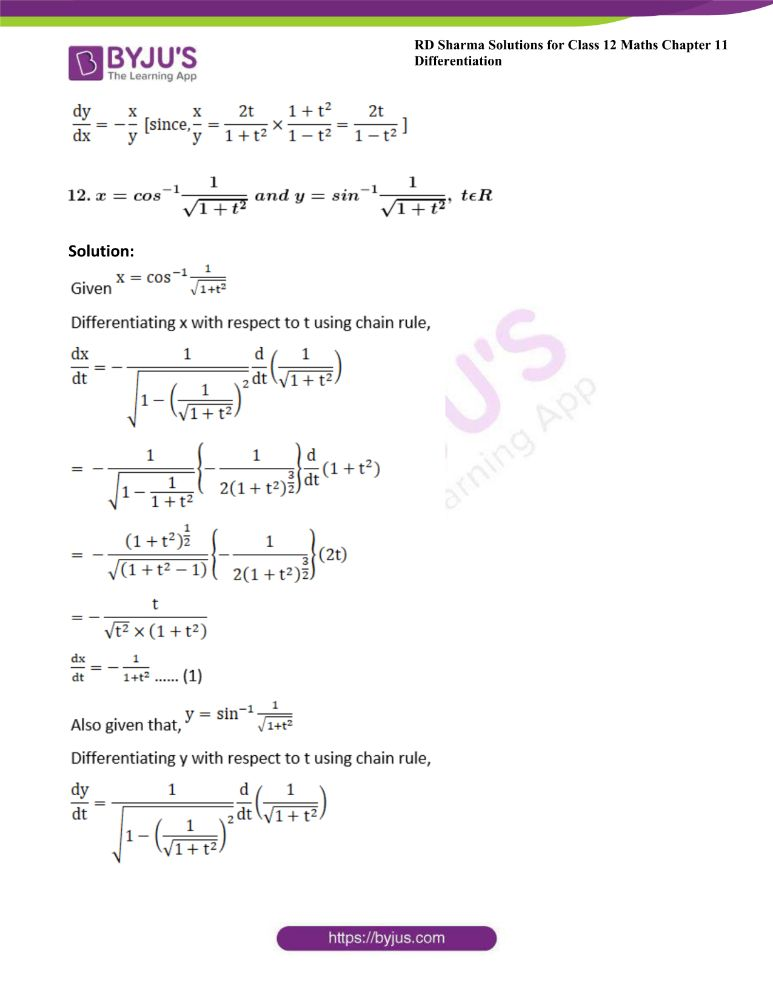 RD Sharma Class 12 Maths Solutions Chapter 11 Differentiation Exercise 11.7 10