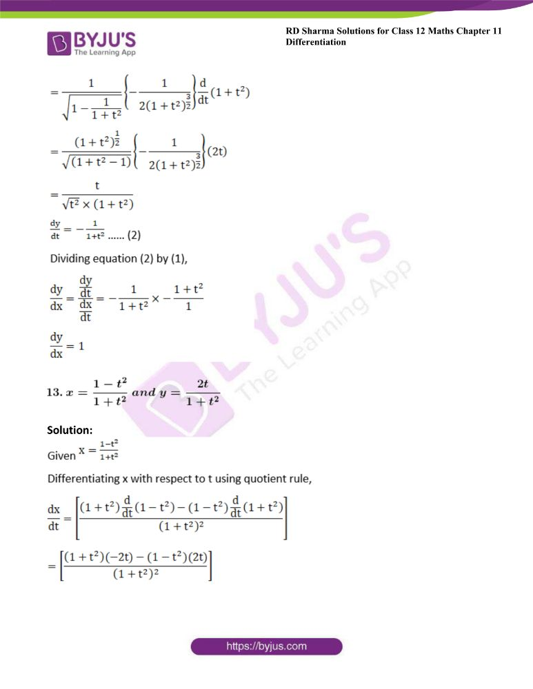 RD Sharma Class 12 Maths Solutions Chapter 11 Differentiation Exercise 11.7 11