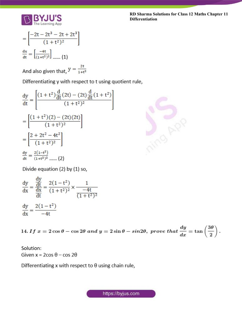 RD Sharma Class 12 Maths Solutions Chapter 11 Differentiation Exercise 11.7 12