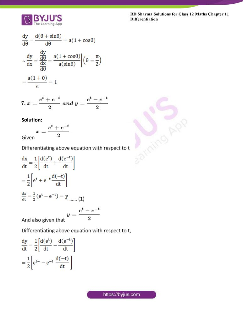 RD Sharma Class 12 Maths Solutions Chapter 11 Differentiation Exercise 11.7 4
