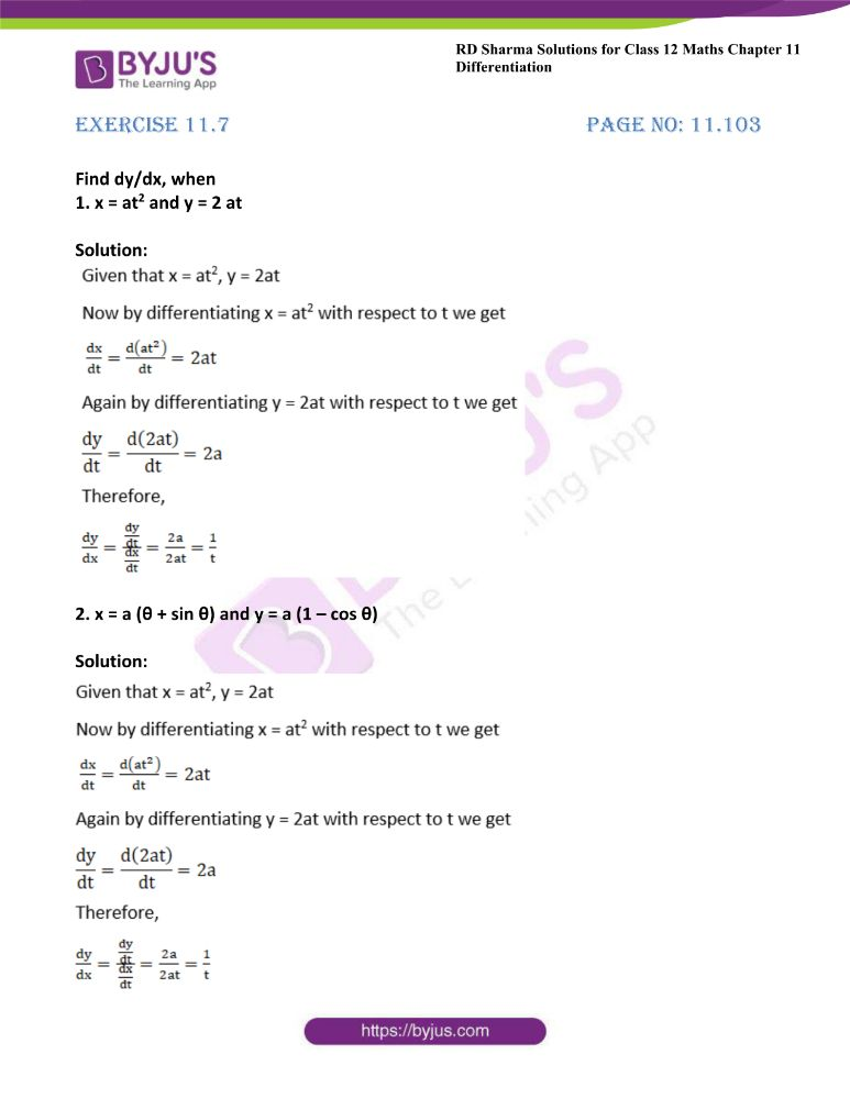 RD Sharma Class 12 Maths Solutions Chapter 11 Differentiation Exercise 11.7