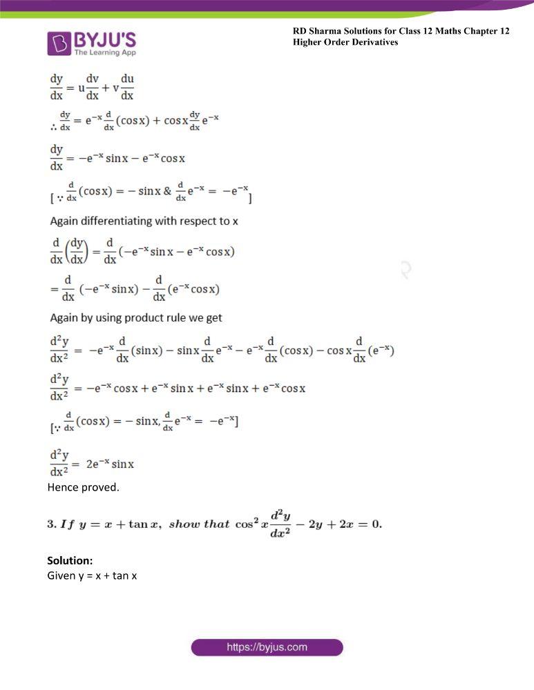 RD Sharma Class 12 Maths Solutions Chapter 12 Higher Order Derivatives 10