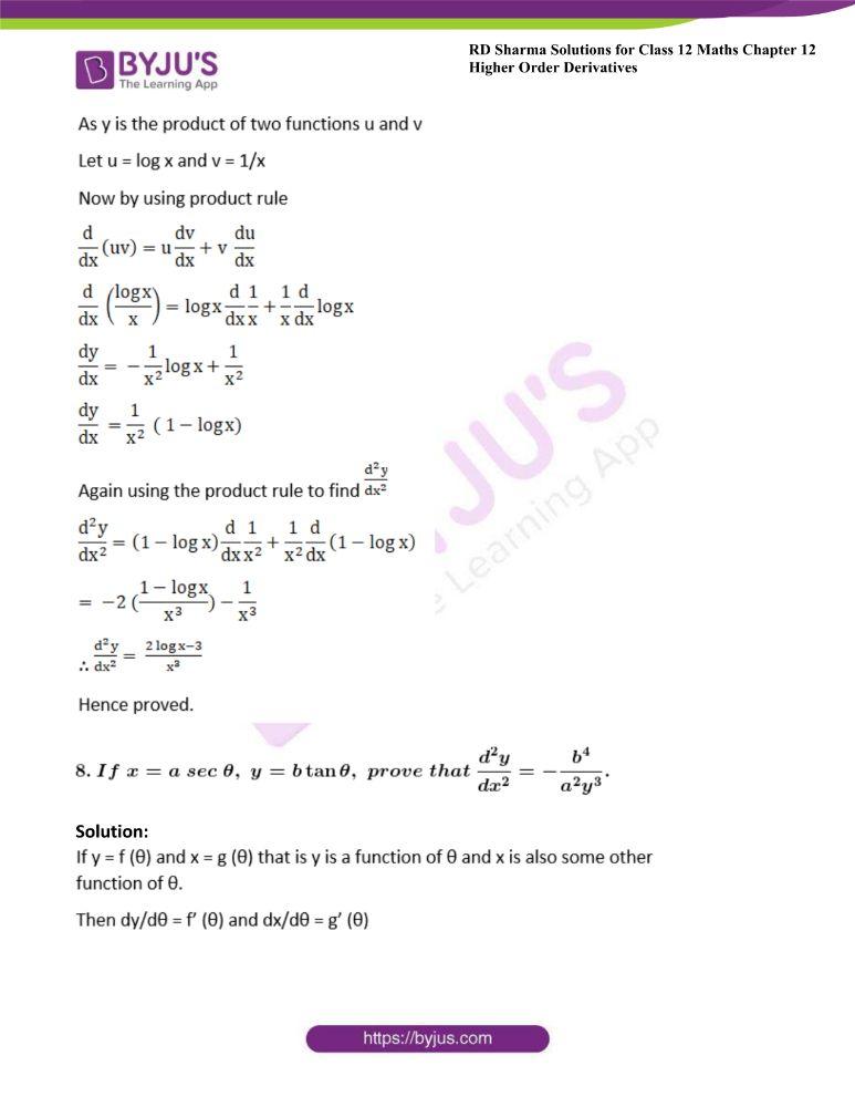 RD Sharma Class 12 Maths Solutions Chapter 12 Higher Order Derivatives 16