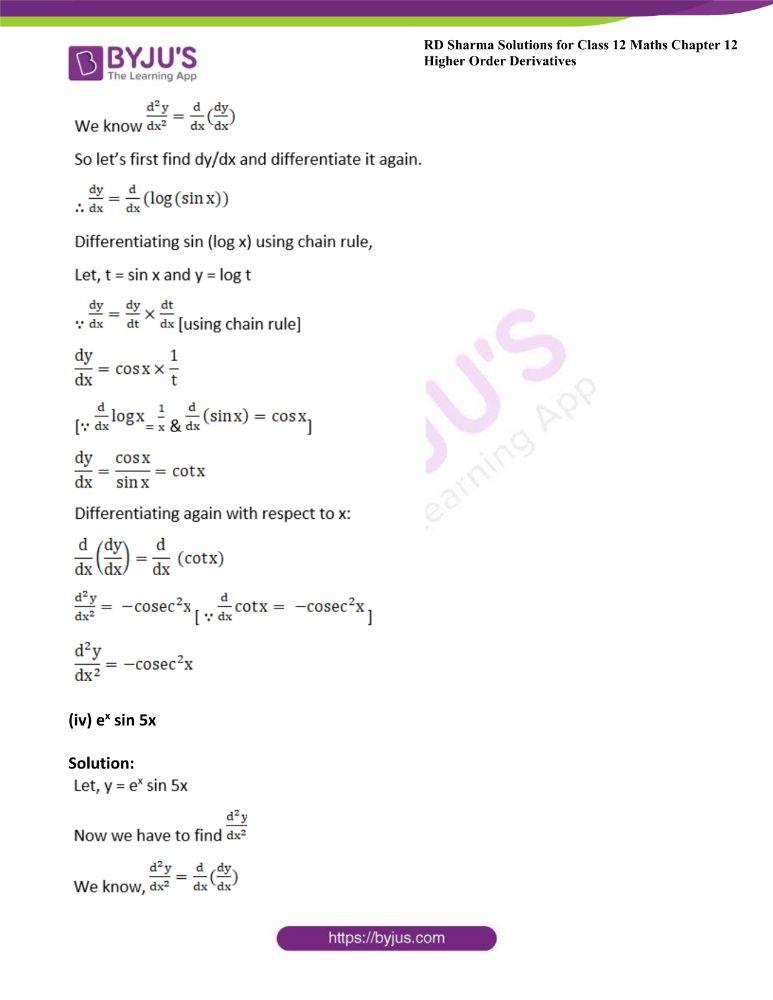RD Sharma Class 12 Maths Solutions Chapter 12 Higher Order Derivatives 2