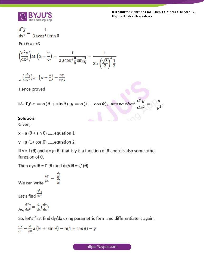 RD Sharma Class 12 Maths Solutions Chapter 12 Higher Order Derivatives 25