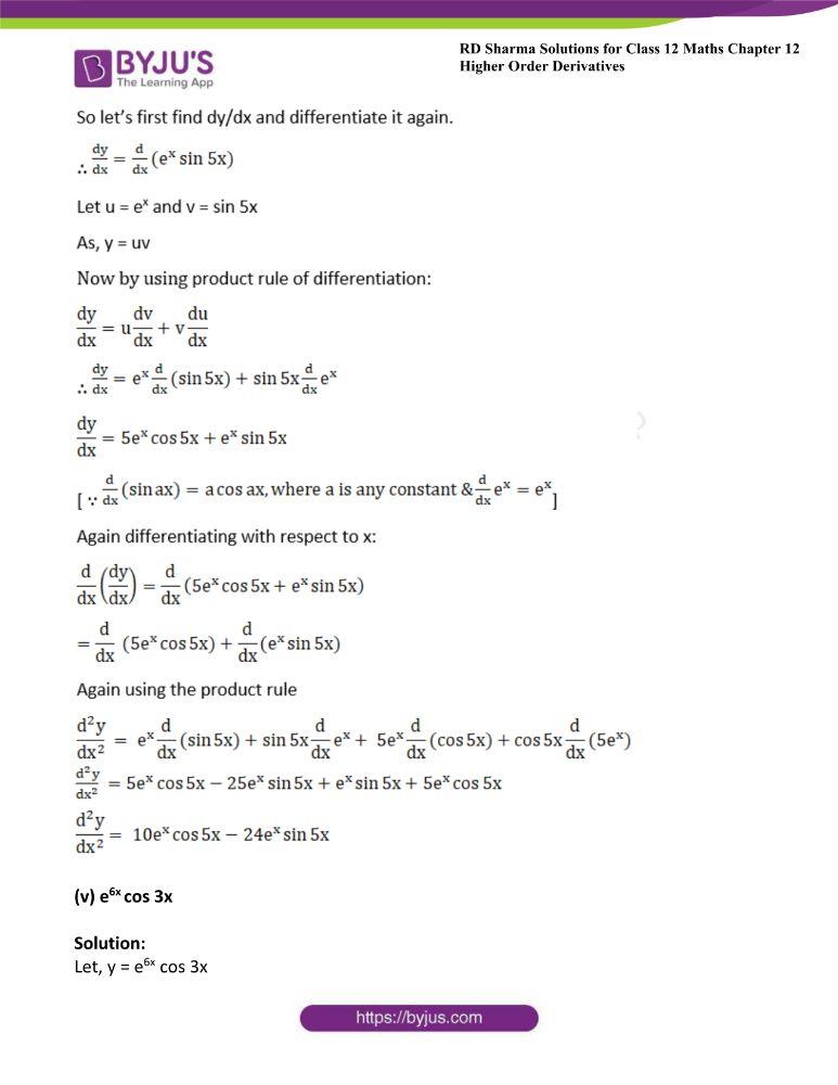 RD Sharma Class 12 Maths Solutions Chapter 12 Higher Order Derivatives 3