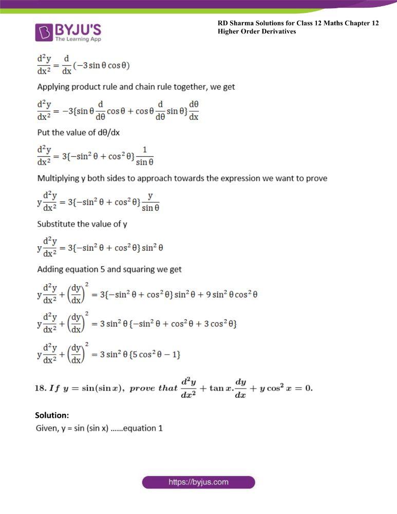 RD Sharma Class 12 Maths Solutions Chapter 12 Higher Order Derivatives 33