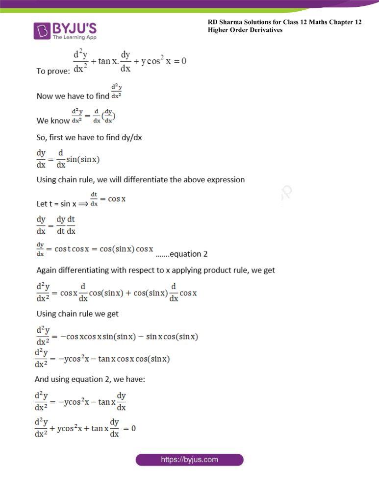 RD Sharma Class 12 Maths Solutions Chapter 12 Higher Order Derivatives 34