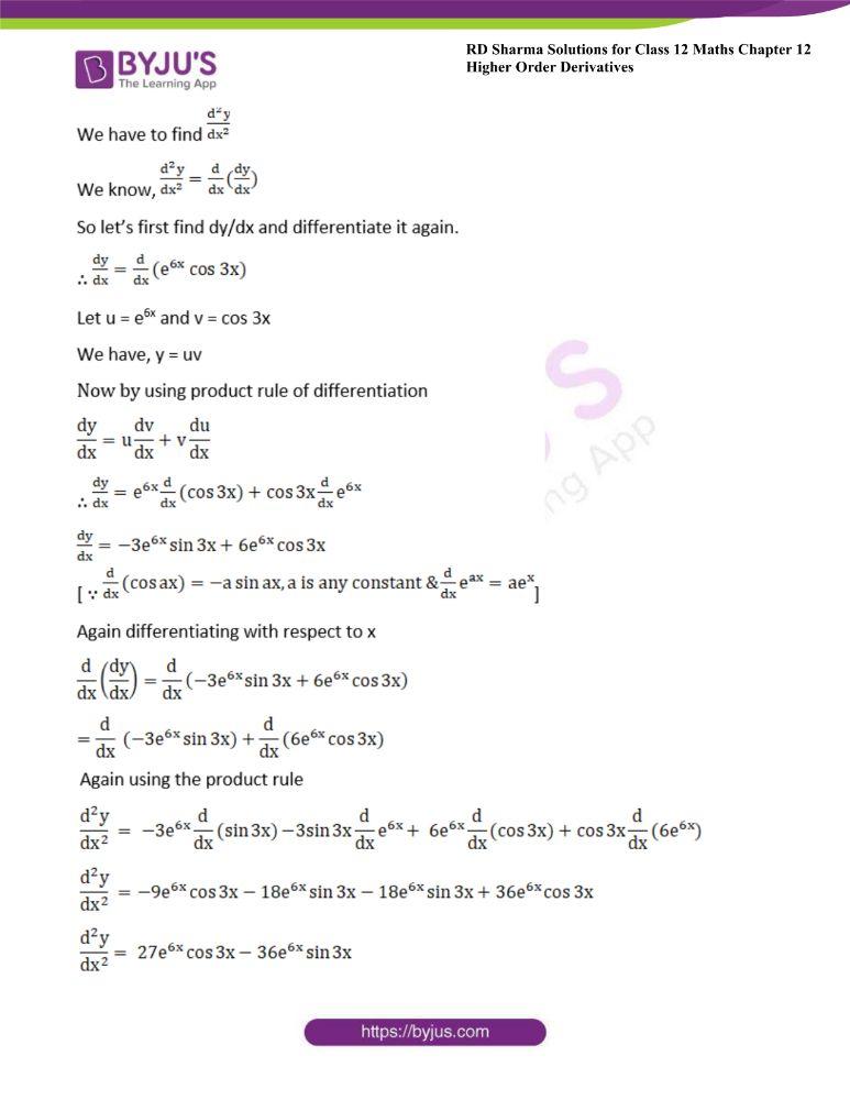 RD Sharma Class 12 Maths Solutions Chapter 12 Higher Order Derivatives 4