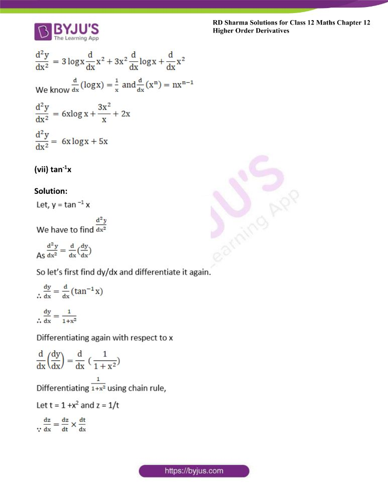 RD Sharma Class 12 Maths Solutions Chapter 12 Higher Order Derivatives 6
