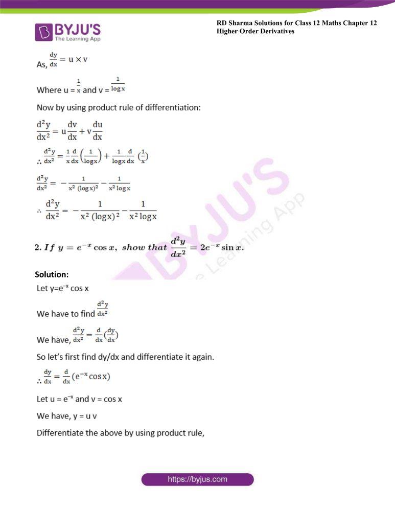 RD Sharma Class 12 Maths Solutions Chapter 12 Higher Order Derivatives 9