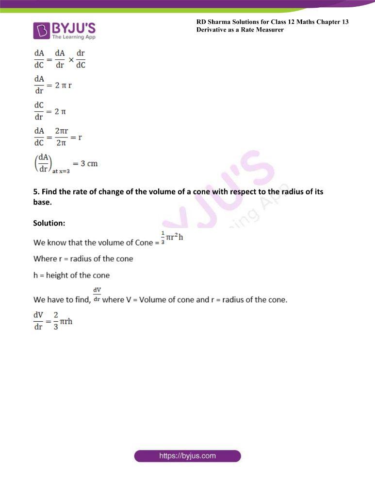 RD Sharma Class 12 Maths Solutions Chapter 13 Derivative As A Rate Measurer 2