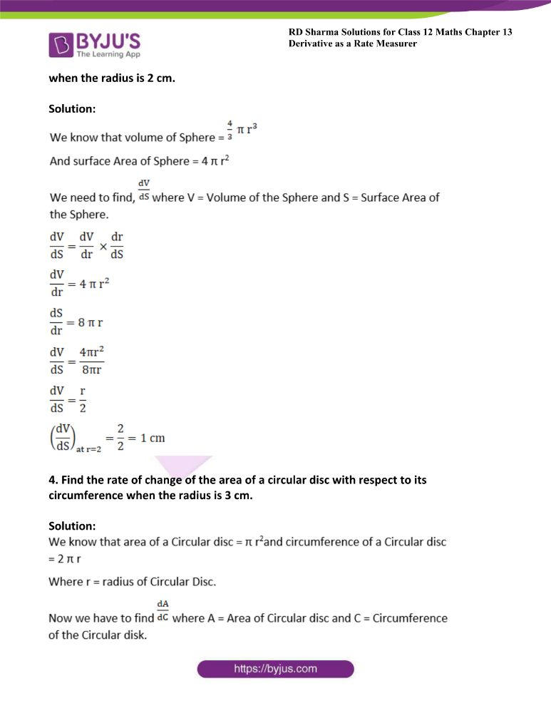 RD Sharma Class 12 Maths Solutions Chapter 13 Derivative As A Rate Measurer Exercise 13.1 1