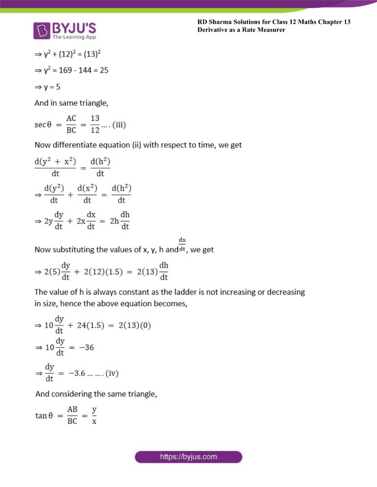 RD Sharma Class 12 Maths Solutions Chapter 13 Derivative As A Rate Measurer Exercise 13.2 13