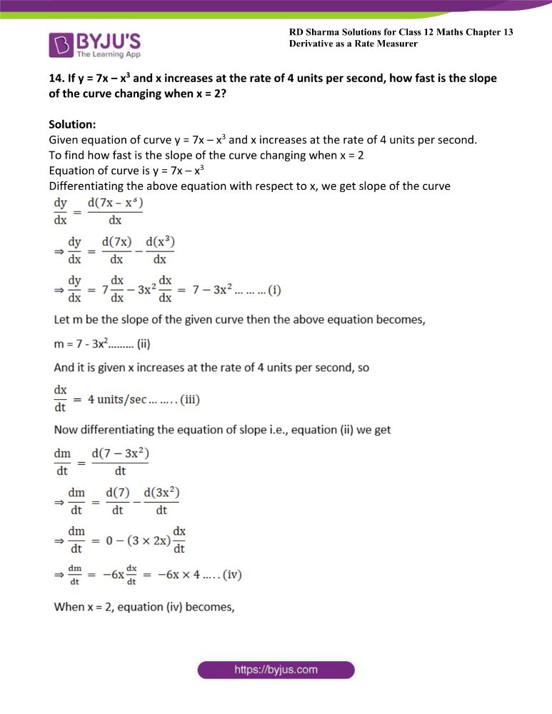 RD Sharma Class 12 Maths Solutions Chapter 13 Derivative As A Rate Measurer Exercise 13.2 16