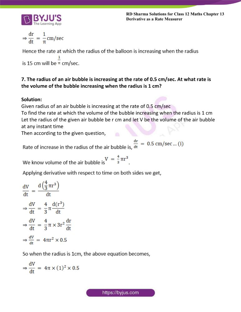 RD Sharma Class 12 Maths Solutions Chapter 13 Derivative As A Rate Measurer Exercise 13.2 5