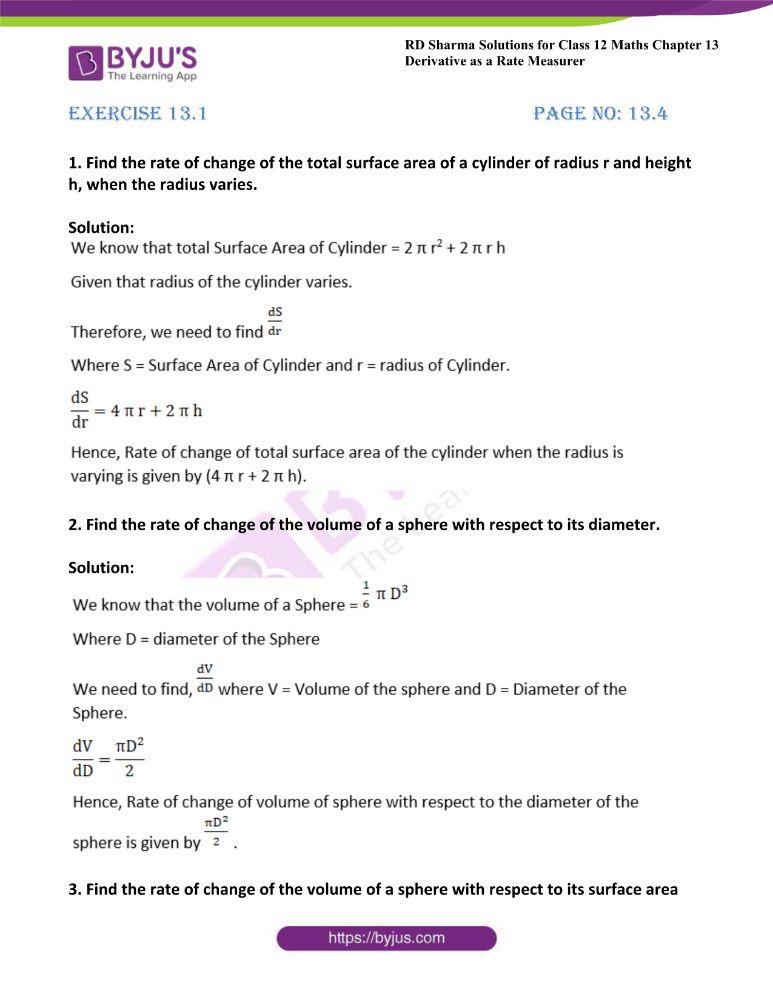 RD Sharma Class 12 Maths Solutions Chapter 13 Derivative As A Rate Measurer
