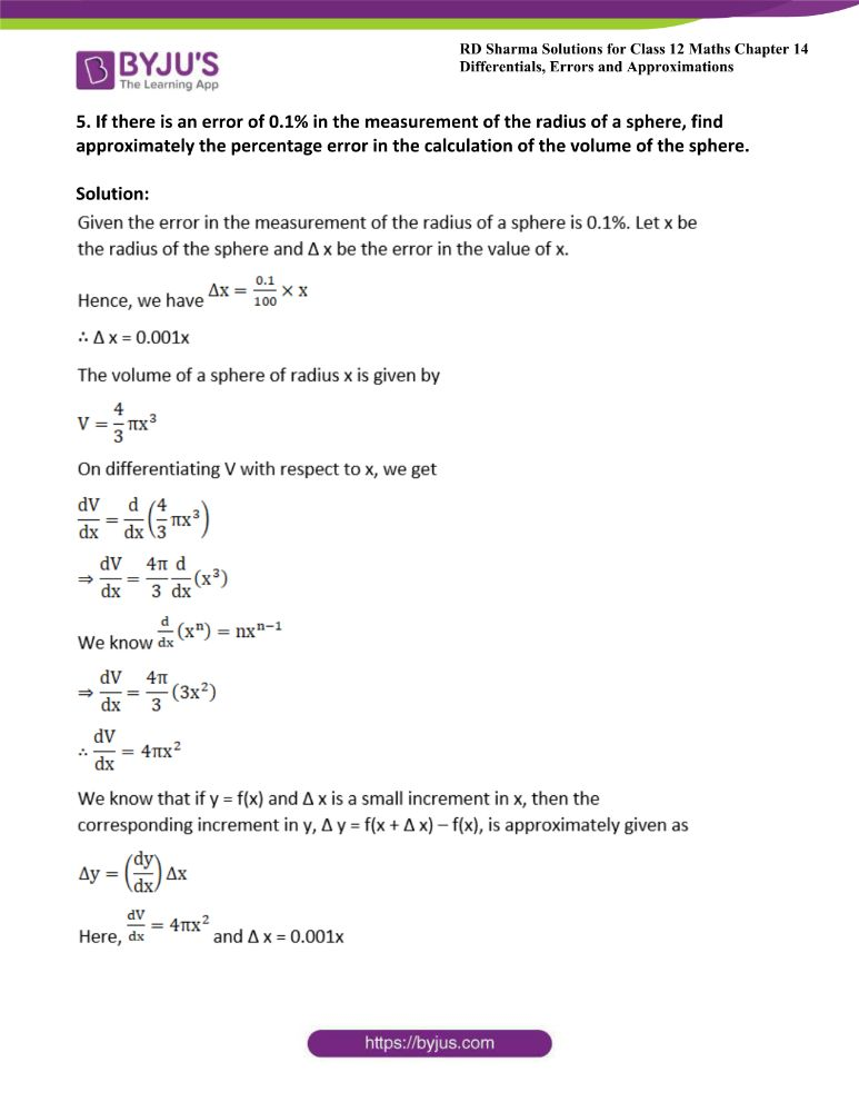 RD Sharma Class 12 Maths Solutions Chapter 14 Differentials Errors And Approximations 5