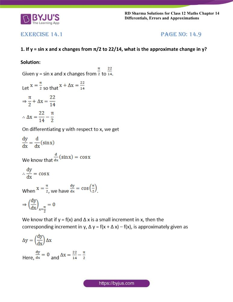 RD Sharma Class 12 Maths Solutions Chapter 14 Differentials Errors And Approximations