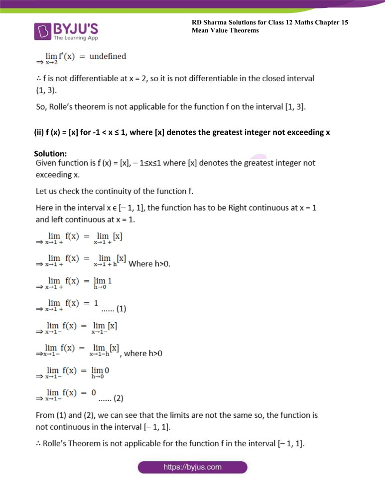 RD Sharma Class 12 Maths Solutions Chapter 15 Mean Value Theorems 1