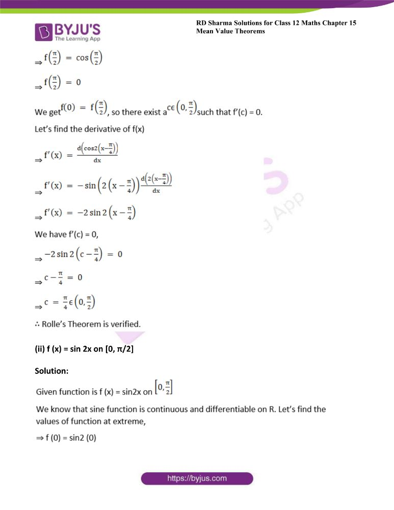 RD Sharma Class 12 Maths Solutions Chapter 15 Mean Value Theorems 15