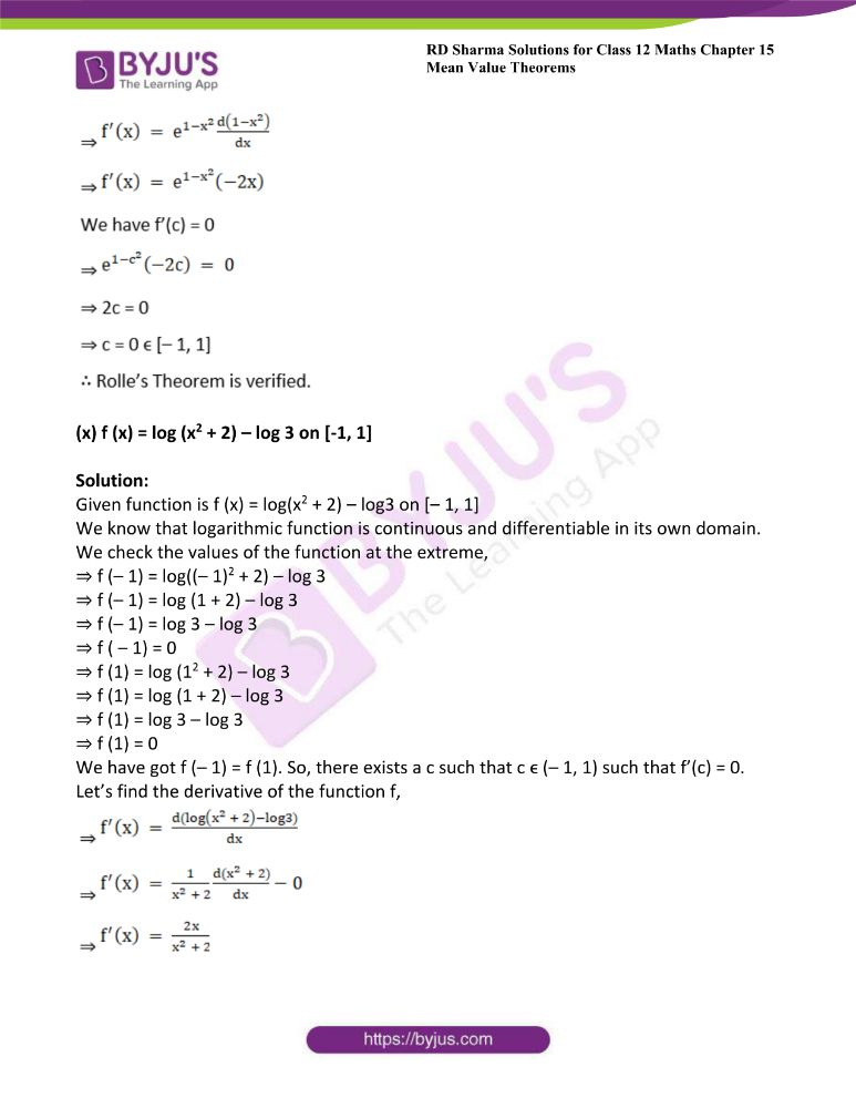 RD Sharma Class 12 Maths Solutions Chapter 15 Mean Value Theorems 24