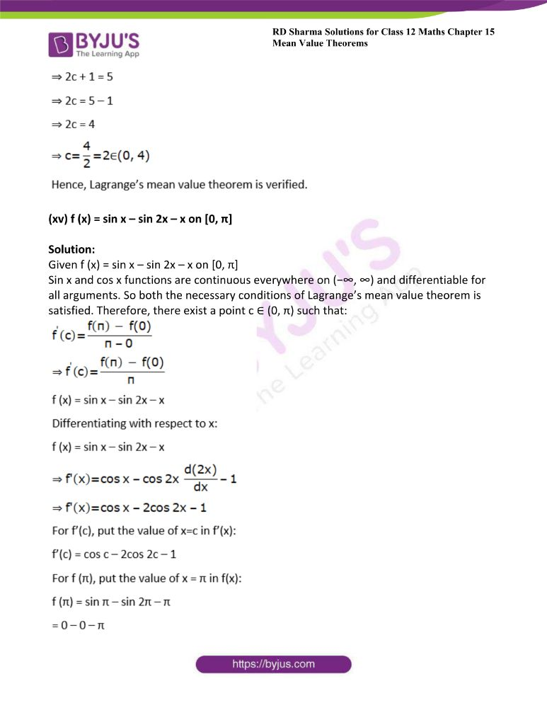 RD Sharma Class 12 Maths Solutions Chapter 15 Mean Value Theorems 58