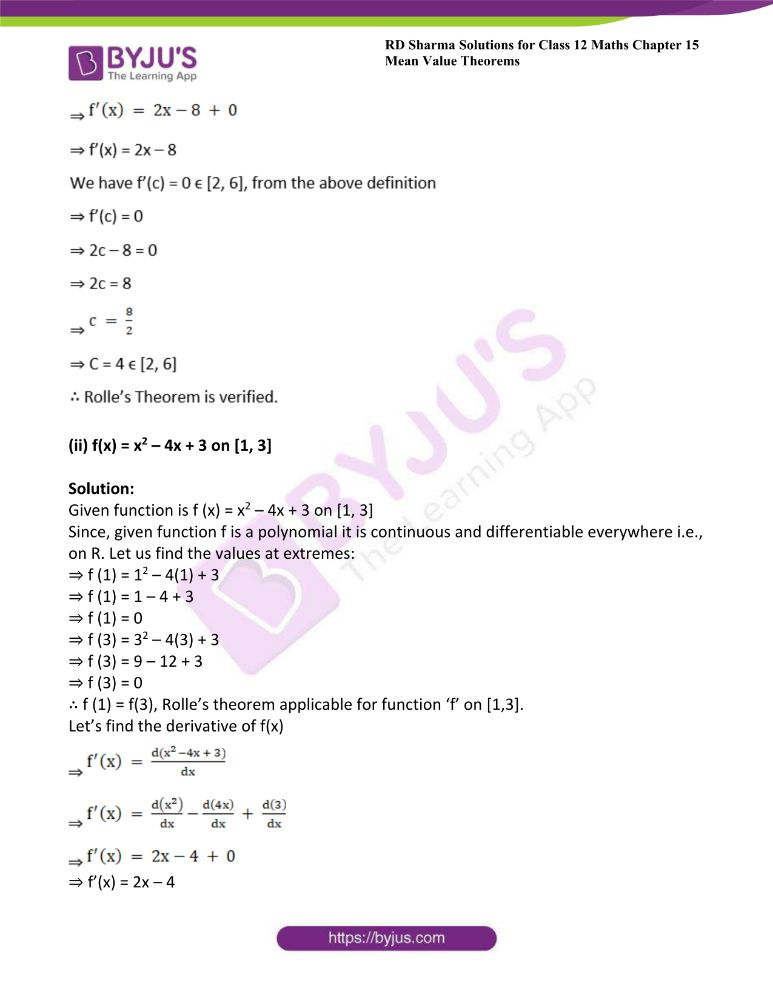 RD Sharma Class 12 Maths Solutions Chapter 15 Mean Value Theorems 6