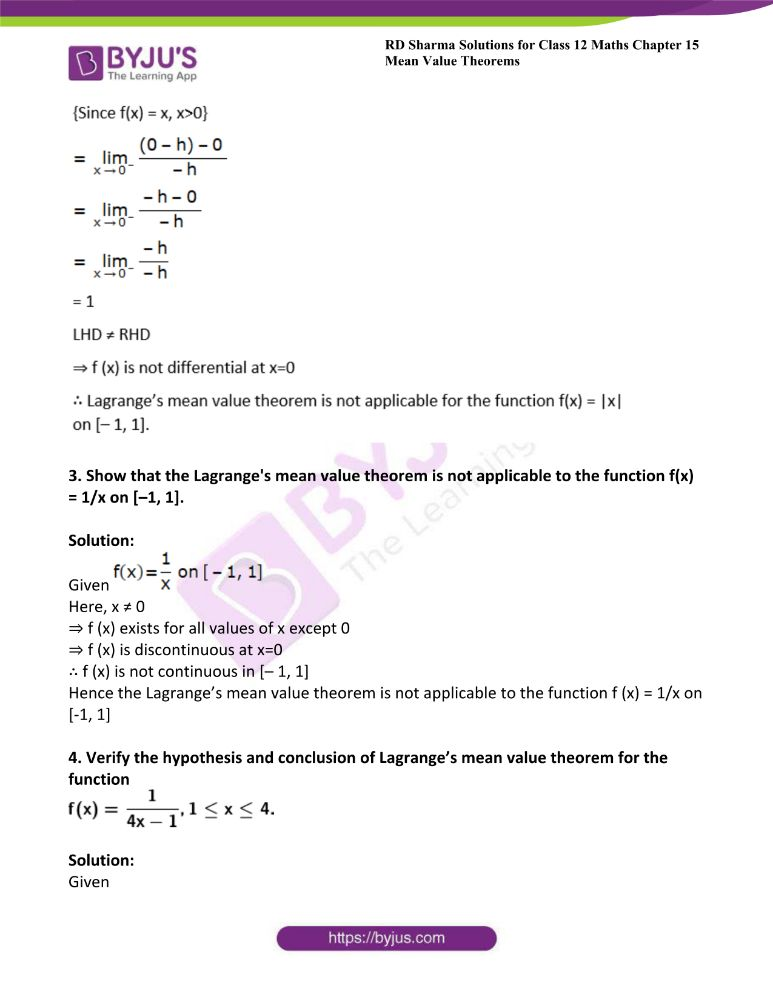 RD Sharma Class 12 Maths Solutions Chapter 15 Mean Value Theorems 62