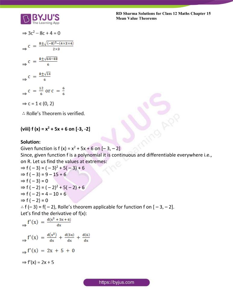 RD Sharma Class 12 Maths Solutions Chapter 15 Mean Value Theorems Exercise 15.1 13