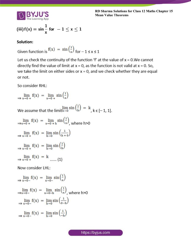 RD Sharma Class 12 Maths Solutions Chapter 15 Mean Value Theorems Exercise 15.1 2