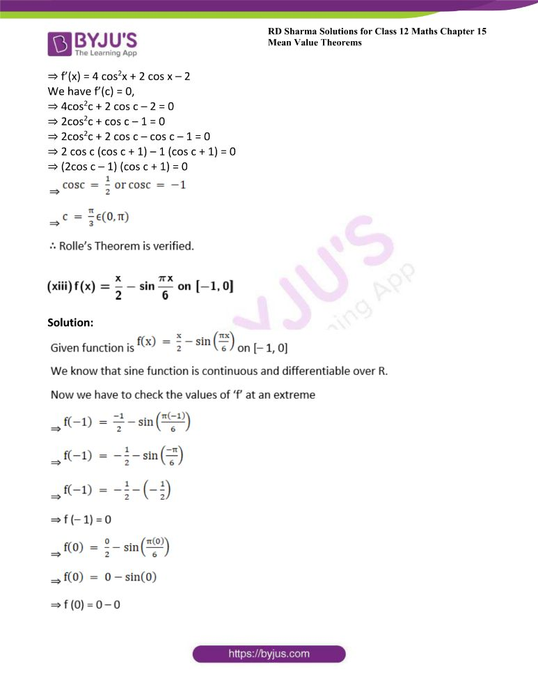RD Sharma Class 12 Maths Solutions Chapter 15 Mean Value Theorems Exercise 15.1 27