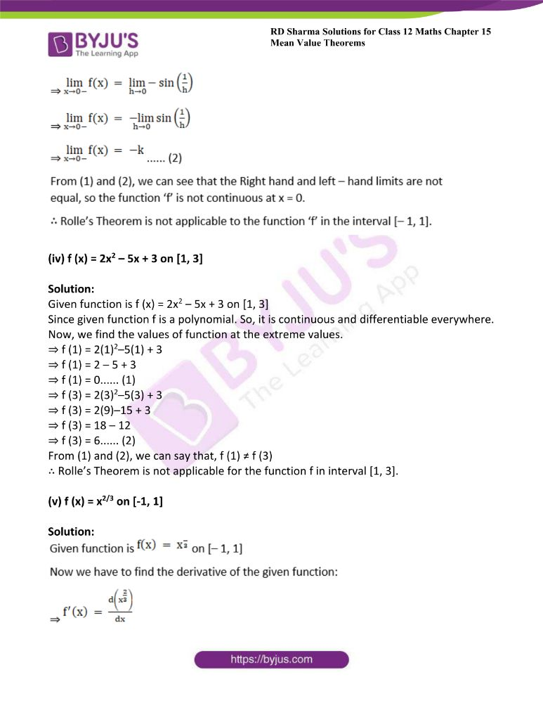 RD Sharma Class 12 Maths Solutions Chapter 15 Mean Value Theorems Exercise 15.1 3